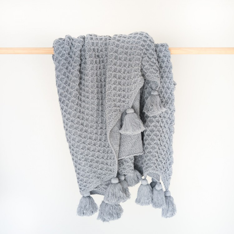 Bijou knitted throw Cloud Grey
