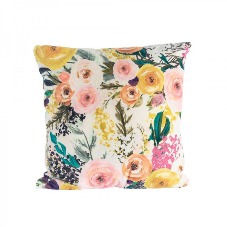 White Botanical Cushion