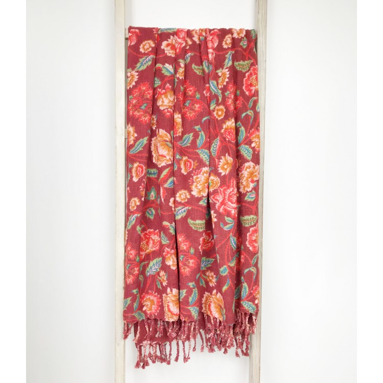 Red Lily Cotton Throw