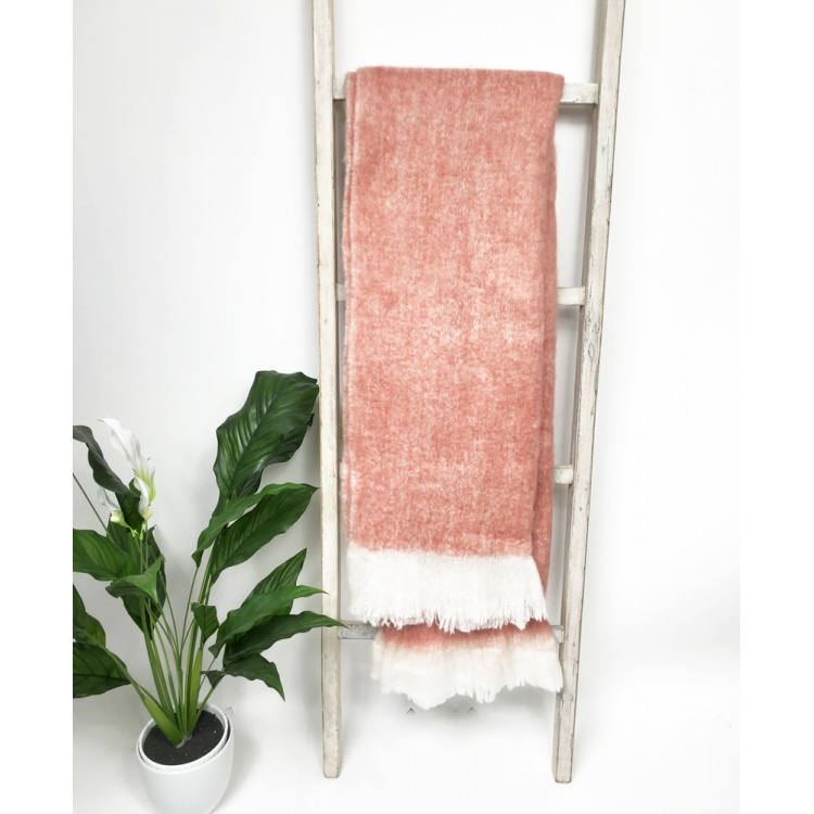 Dusty Pink Wool Blend Throw