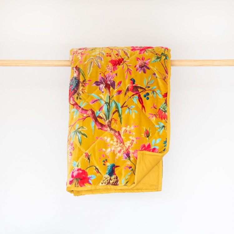 Ochre Paradise Velvet Throw