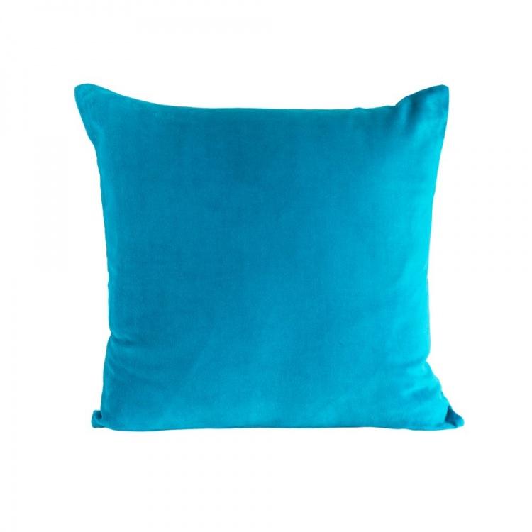Turquoise velvet/linen Cushion