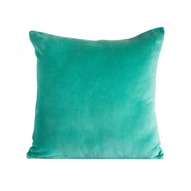 Aqua velvet/ linen Cushion
