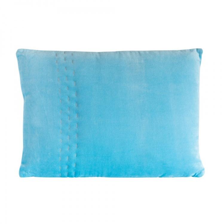 Sky Blue Velvet Hand Stitched Cushion