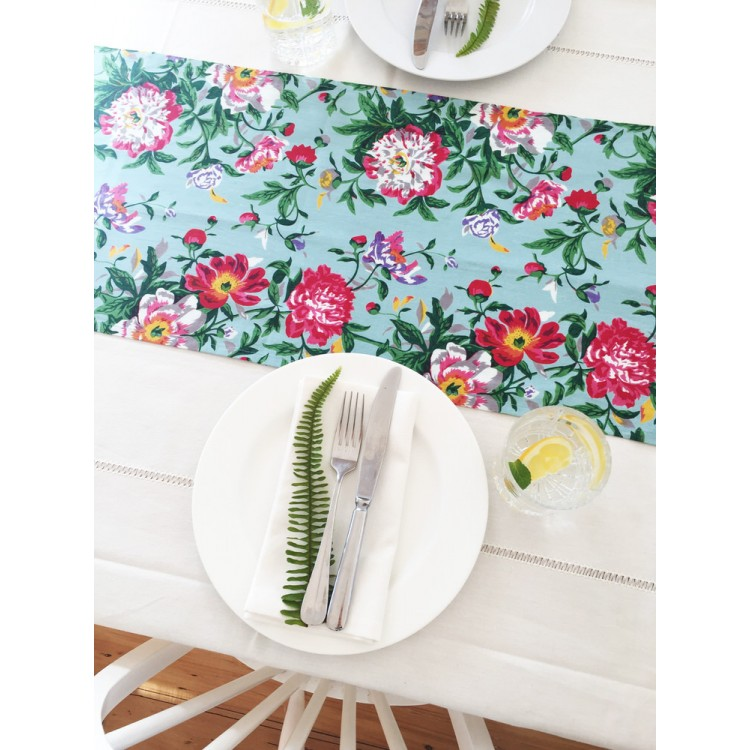 Sky Blue Bloom Table Runner