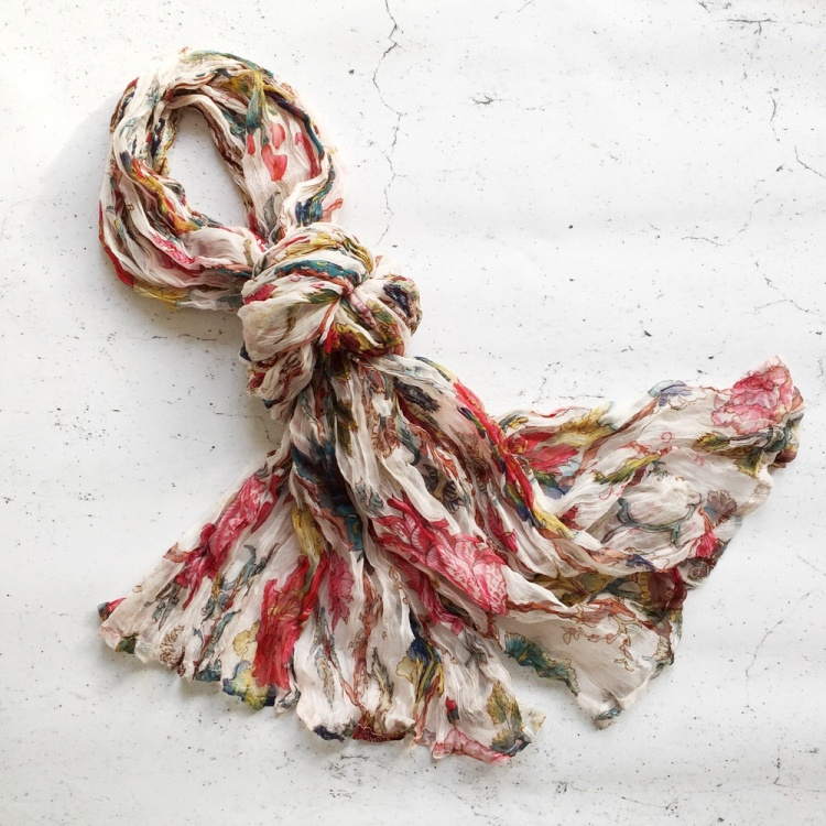 White Tree of Life Chiffon Scarf